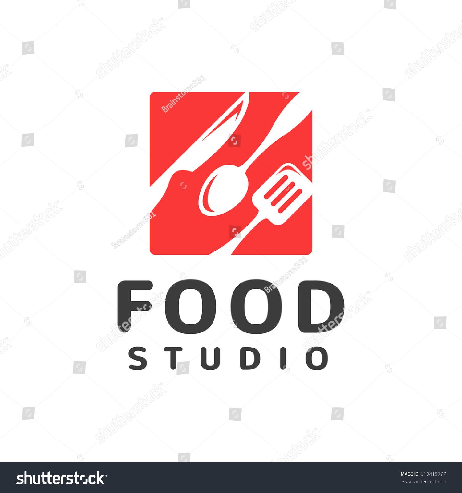 Food studio vector logo kitchen tools stock