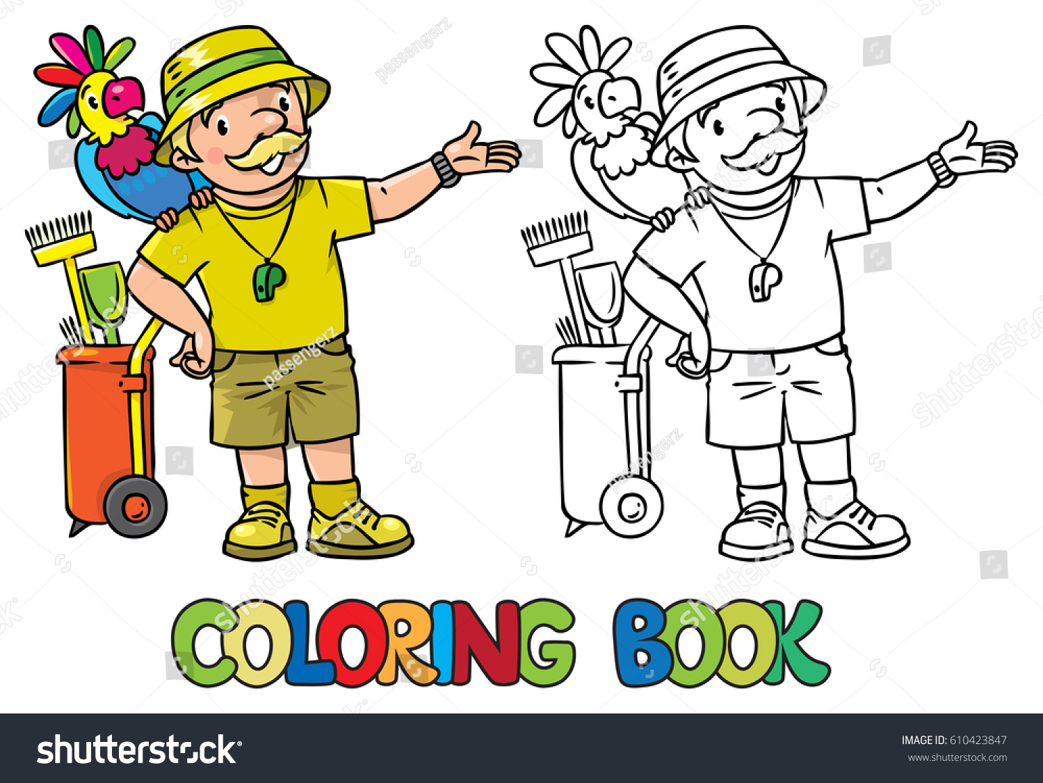 The zoology coloring book - Coloring Book Of Funny Zoo Keeper With Parrot