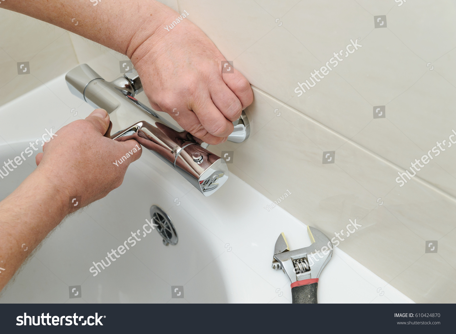 Install the tap with female hands
