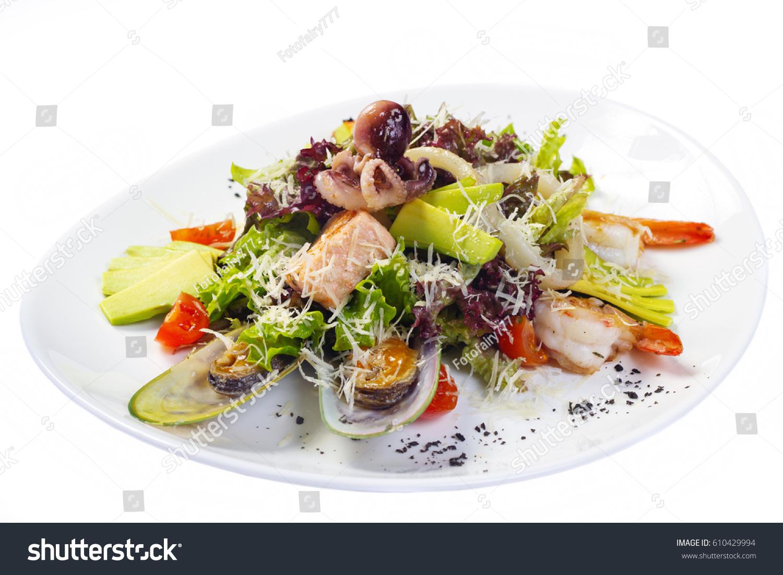 Green Salad Seafood Salmon Isolated On ...