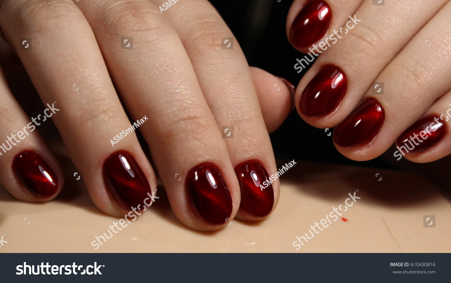 Manicure Nails Red Cats Eye Stock Photo (Royalty Free) 610430816 ...