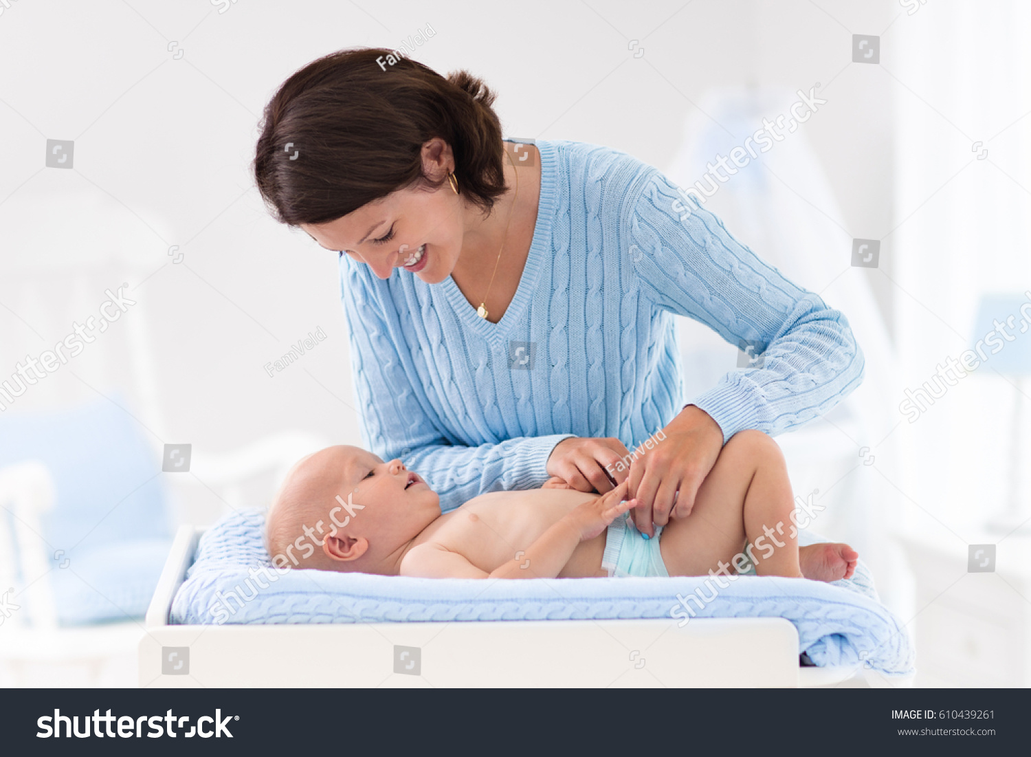 Mother Baby Change Diaper After Bath Stock Photo (Royalty Free ...