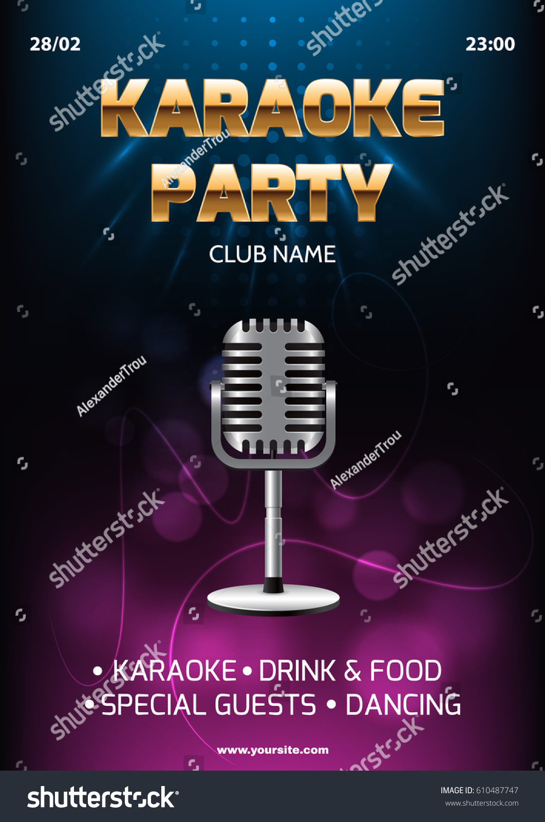 Karaoke Party Invitation Flyer Template Dark Stock Vector 610487747 ...