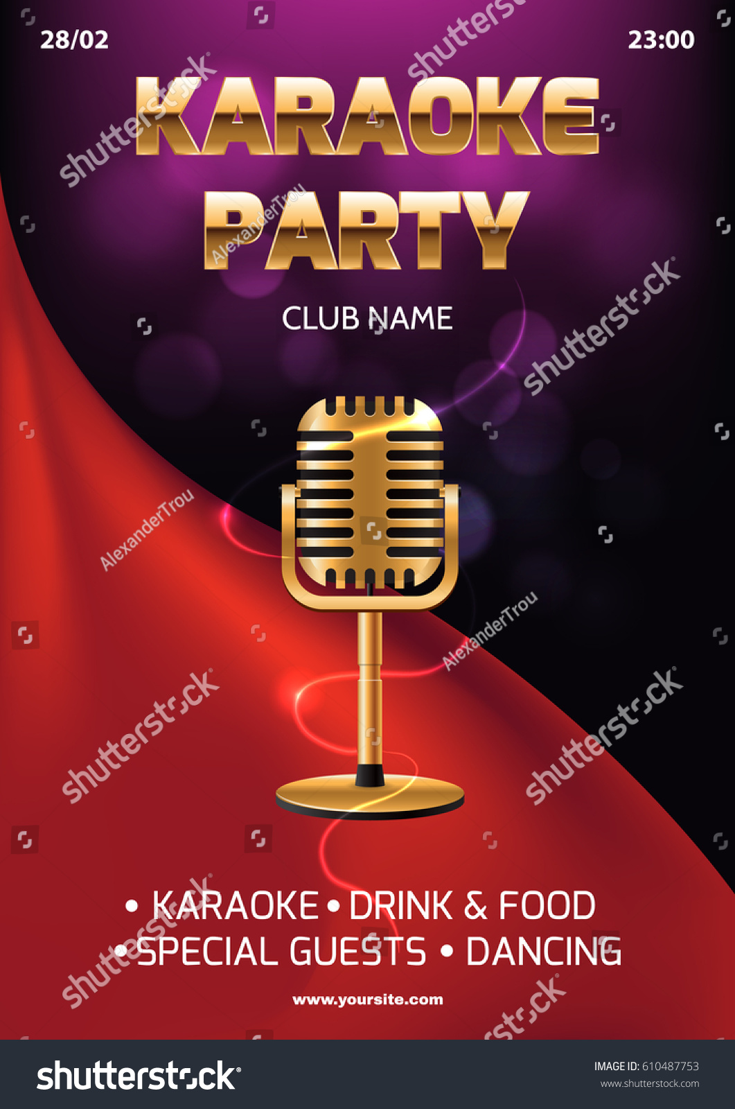 Karaoke Party Invitation Flyer Template Red Stock Vector 610487753 ...