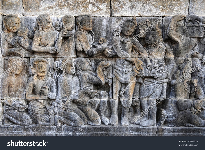 Carved stone at chandi borobudur on java indonesia stock