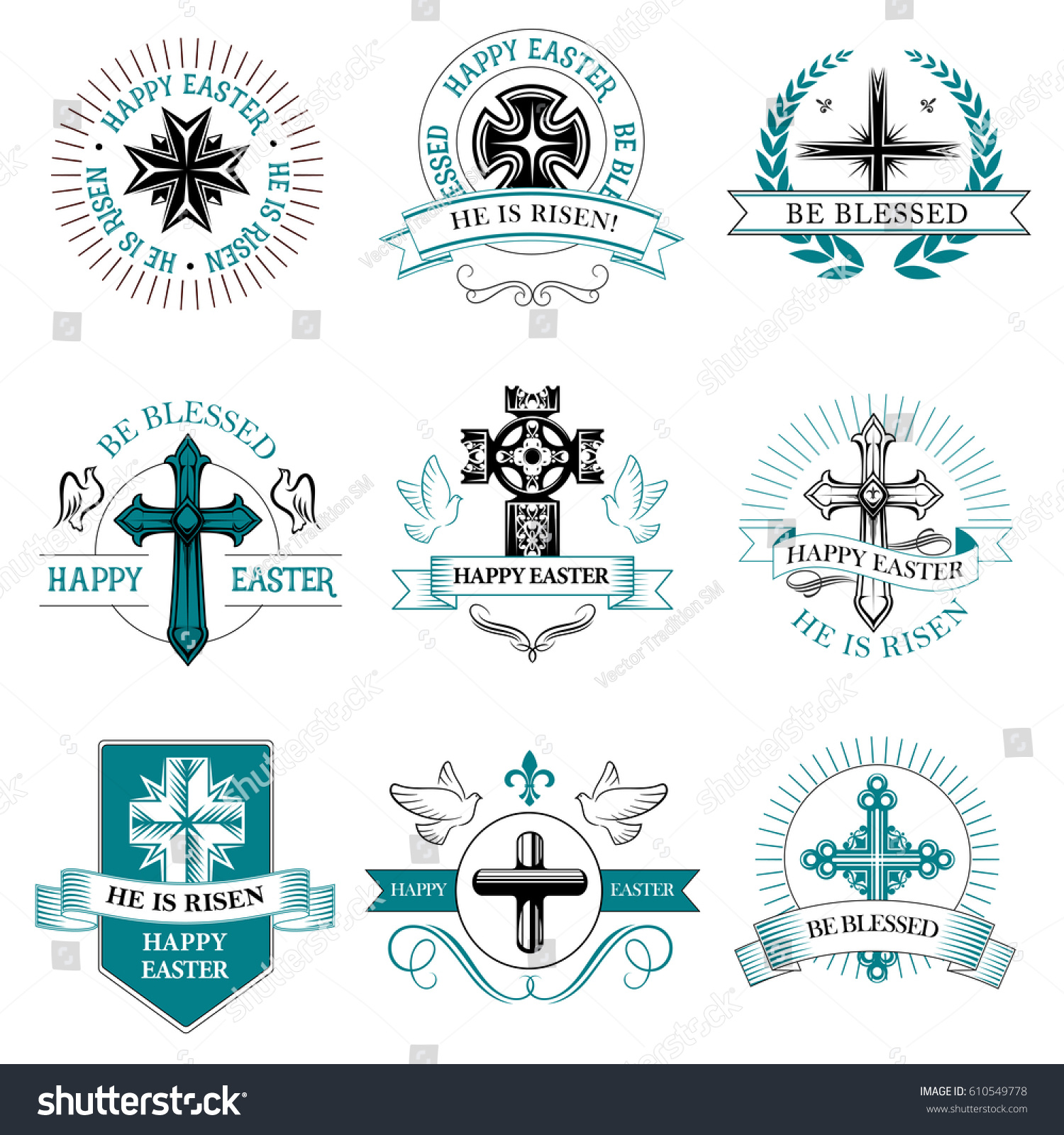 Easter paschal greeting icons crucifix cross stock vector easter paschal greeting icons of crucifix cross and text he is risen be blessed with buycottarizona Images