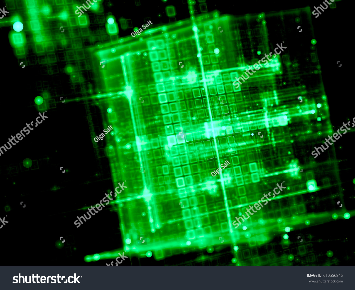 technology fractal background blurred glowing cubes stock
