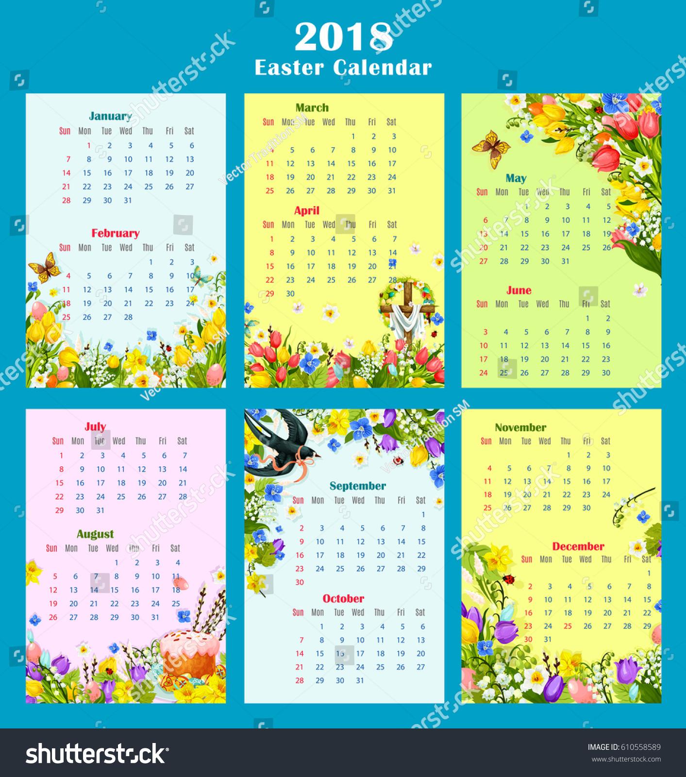 Calendar Easter : Easter year calendar template design monthly stock vector