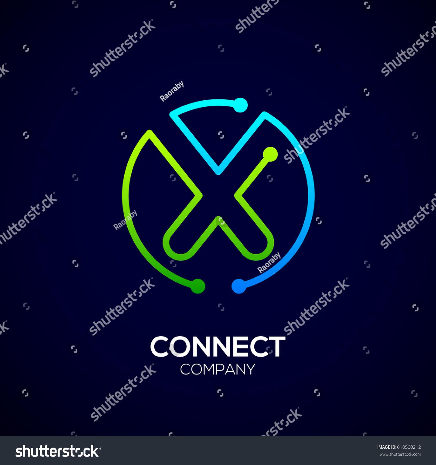 Letter x logo circle shape symbol stock vector 610560212 letter x logo circle shape symbol green and blue color technology and digital buycottarizona