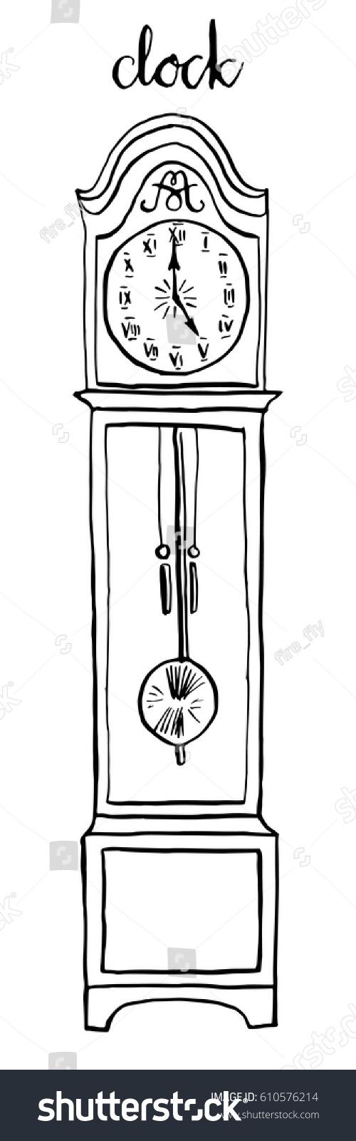 Vintage Floor Clock Furniture Interior Design Elements Hand Drawn Ink Sketch Illustration