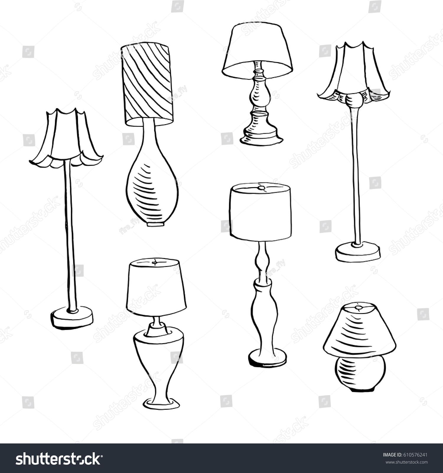 Vintage Lamps Furniture Interior Design Elements Hand Drawn Ink Sketch Illustration Isolated