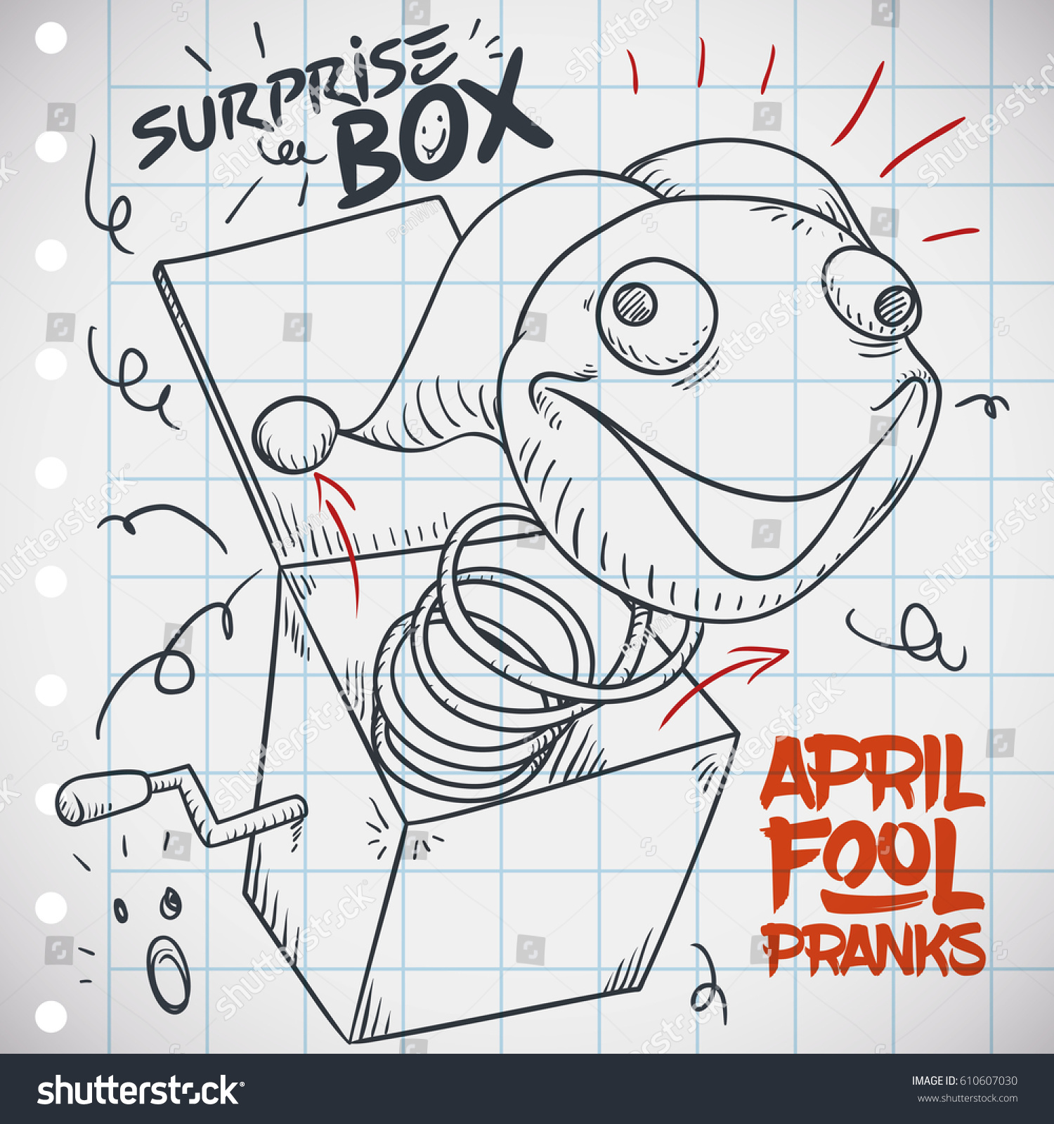 notebook paper doodle design funny prank stock vector 610607030