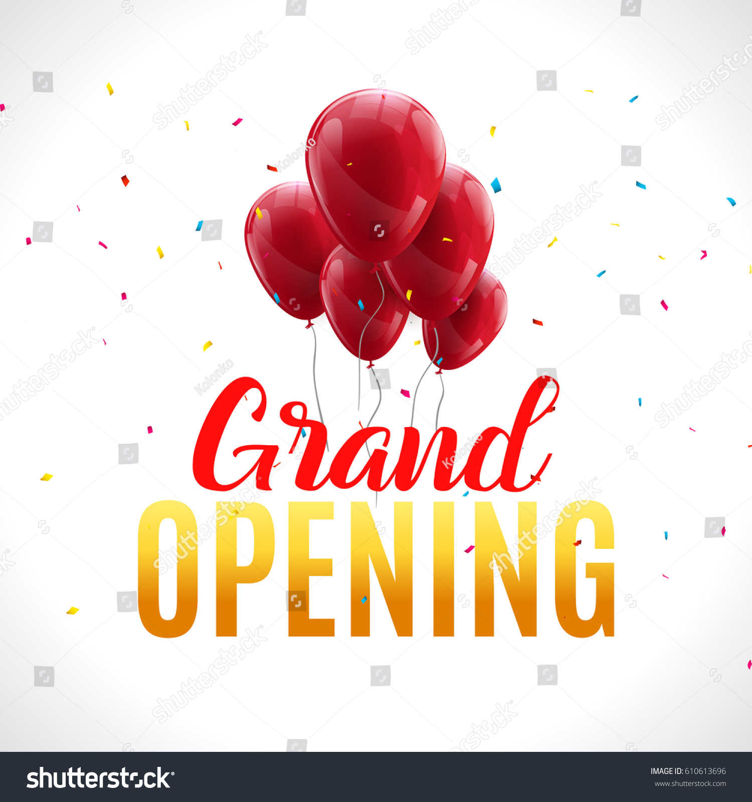 Grand opening event invitation banner red stock vector royalty free grand opening event invitation banner with red balloons and confetti grand opening ceremony poster template m4hsunfo