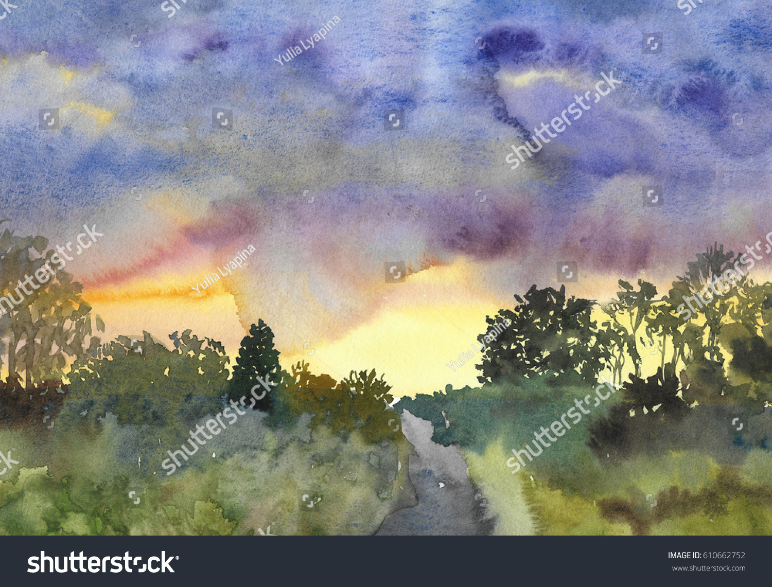 Abstract Landscape Of Sunset Sky All Green Watercolor Painting Background