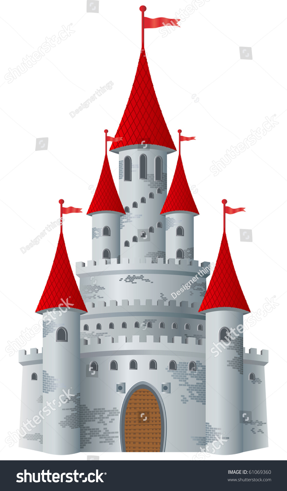 Fairytale Castle On White Background Vector Stock Vector (Royalty ...