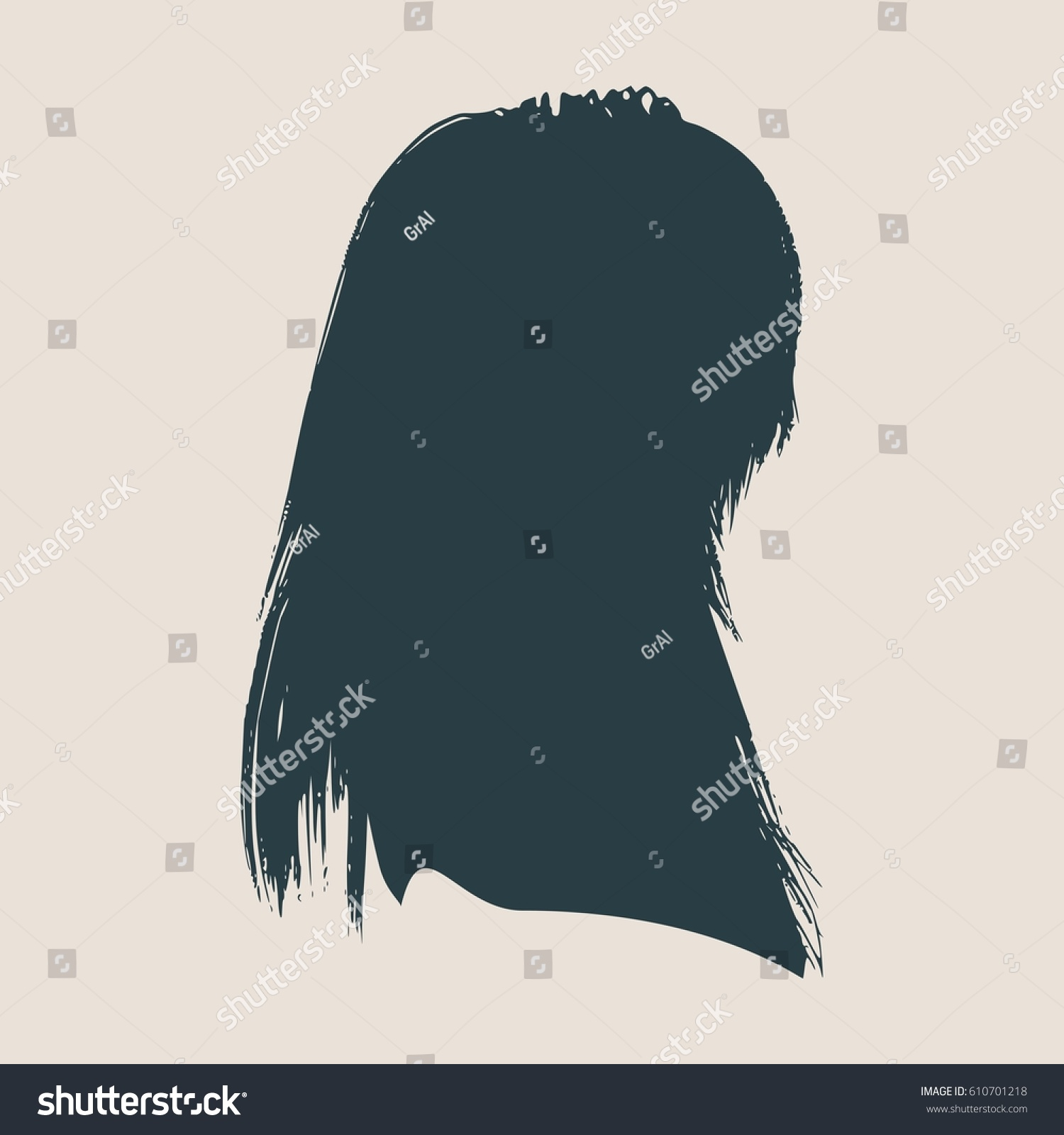 face side view elegant silhouette of a female head vector illustration long hair