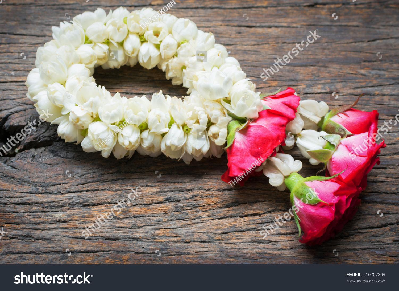 Jasmine Flower Garlands On Wooden Floor Stock Photo Edit Now