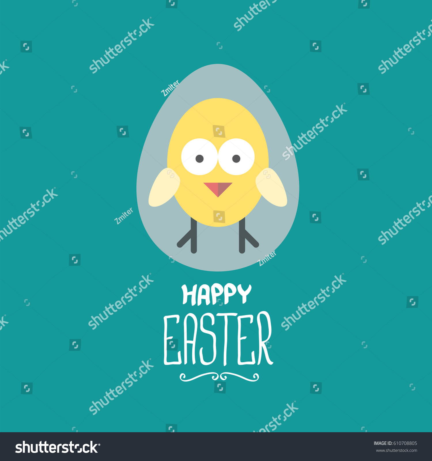 Vector Happy Easter Greeting Card Cute Stock Vector Royalty Free