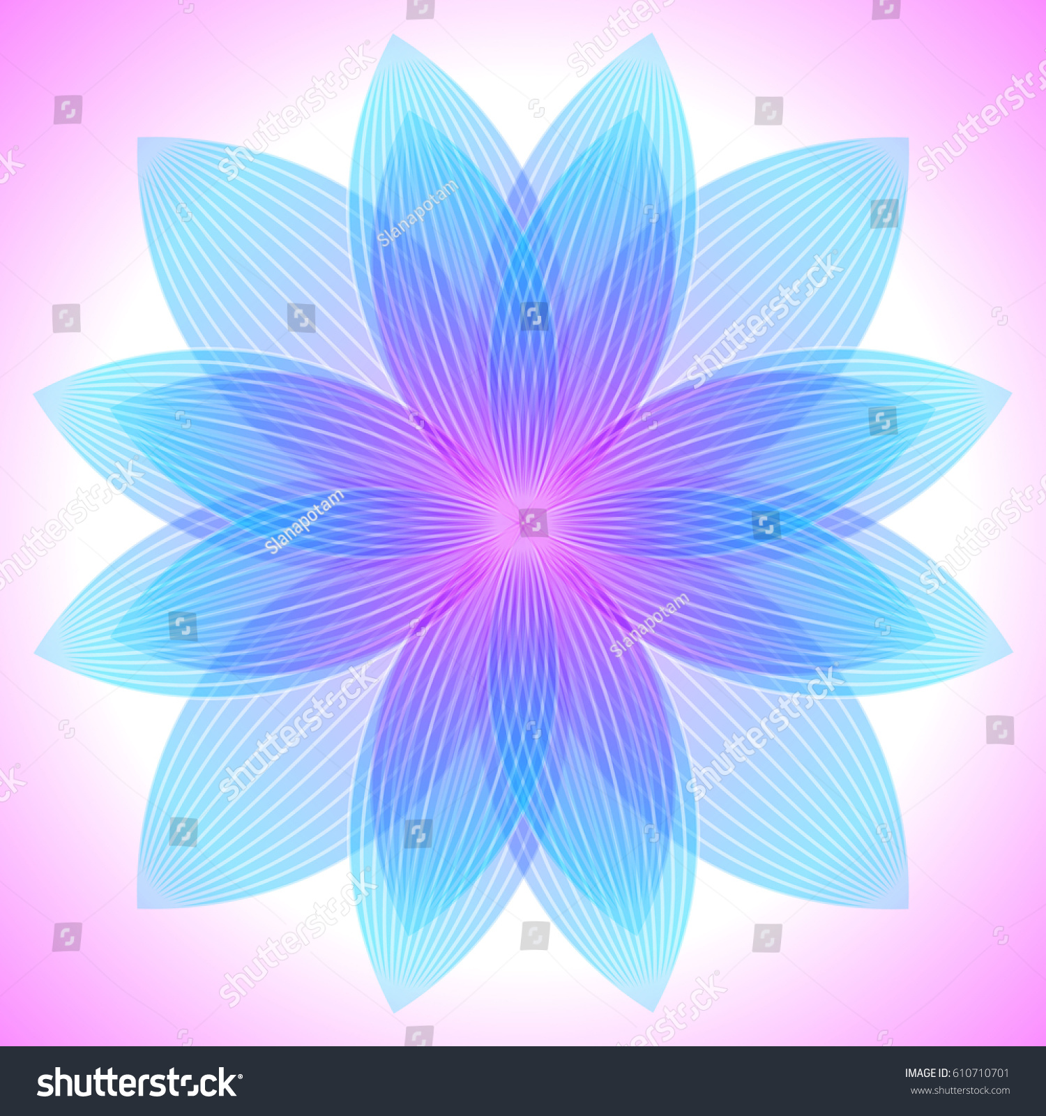 Abstract Pink Blue Flower Geometric Shapes Stock Vector 2018