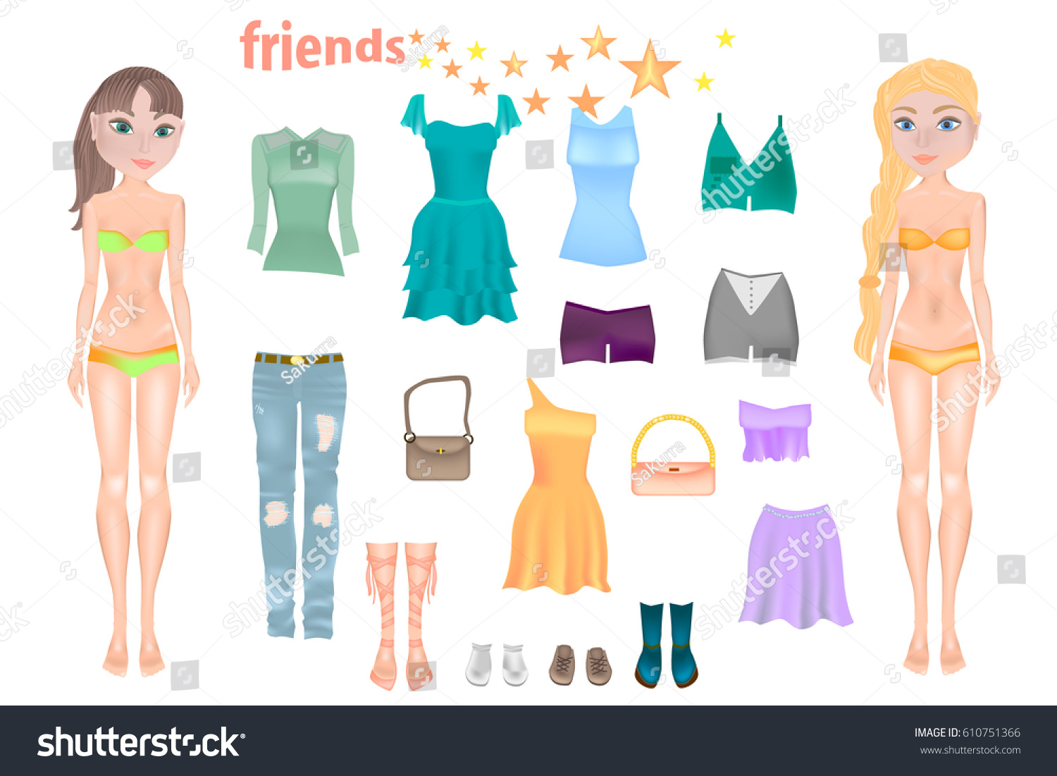 Paper Dolls Friends Body Templates Dress Stock Vector 610751366 ...
