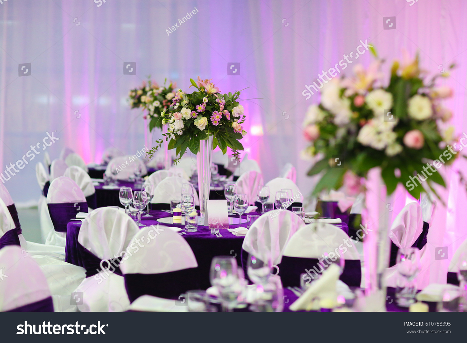 Decorated Tables beautiful wedding reception decorated tables stock photo 610758395