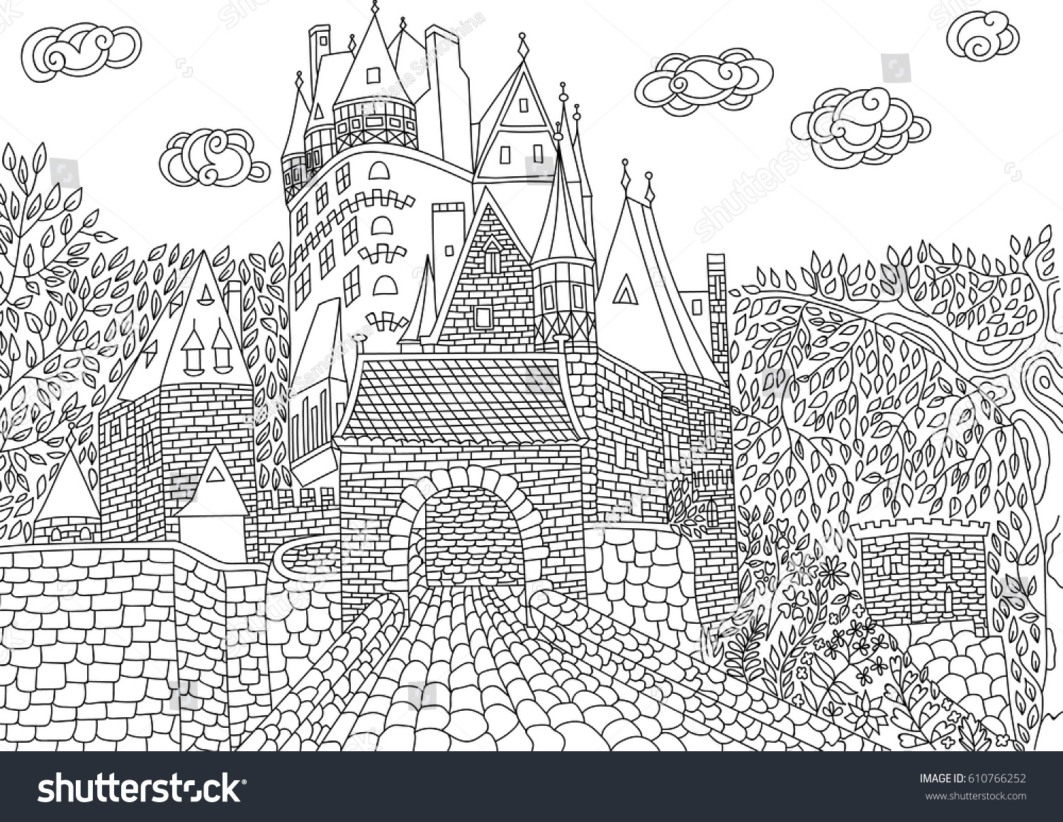coloring eltz castle germany coloring stock vector 610766252