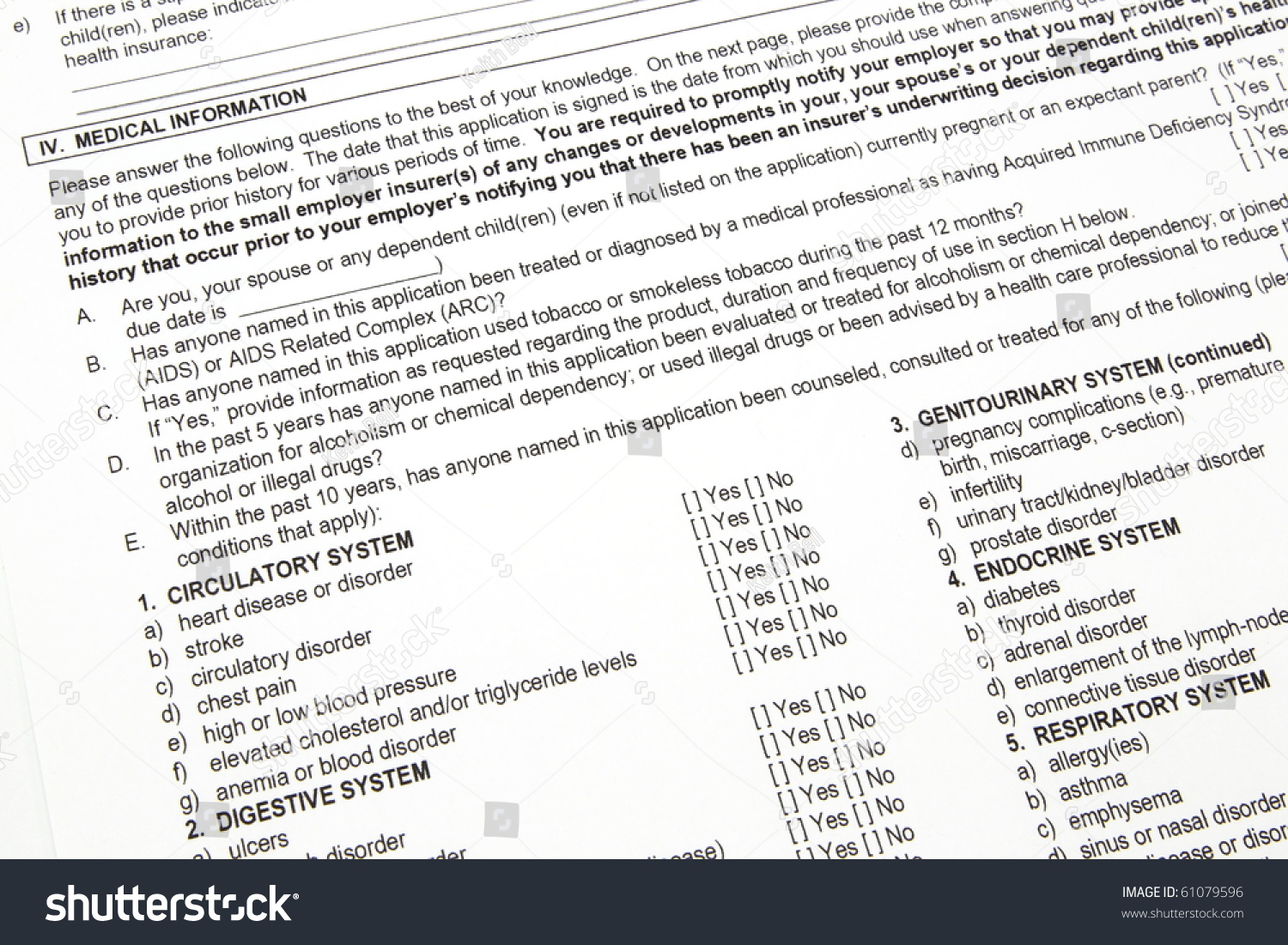 a health insurance application medical information section ready save to a lightbox