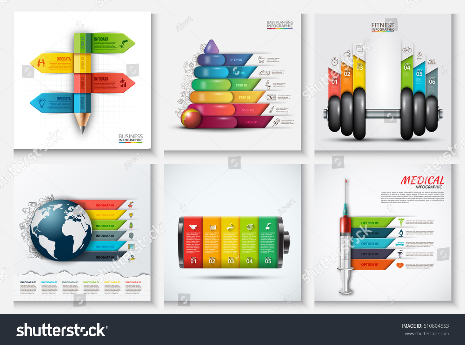 Education Children Sport Medicine Global Infographics Stock Vector