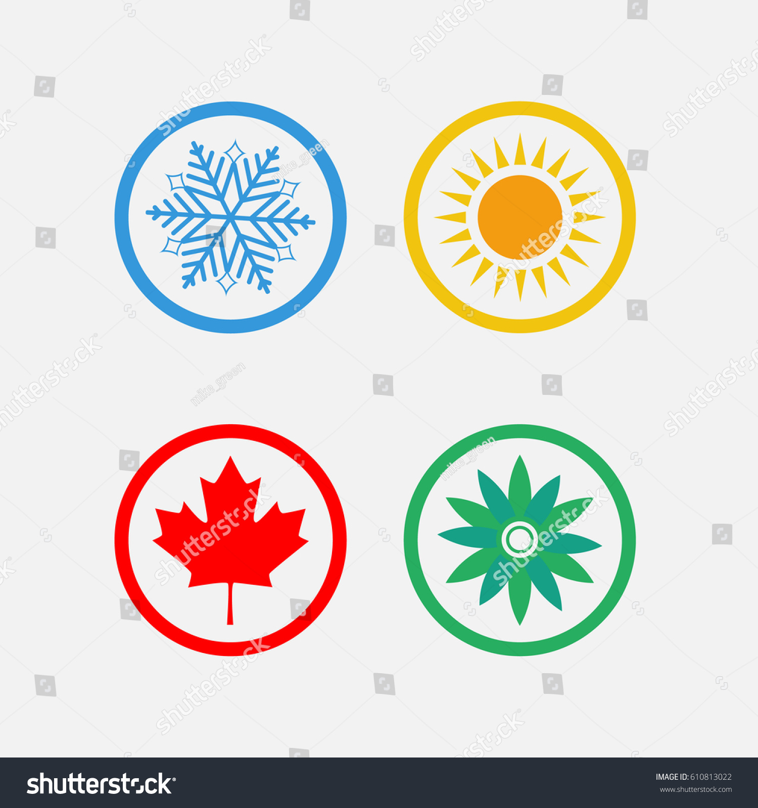 Royalty Free Stock Illustration Of Season Symbols Winter Spring