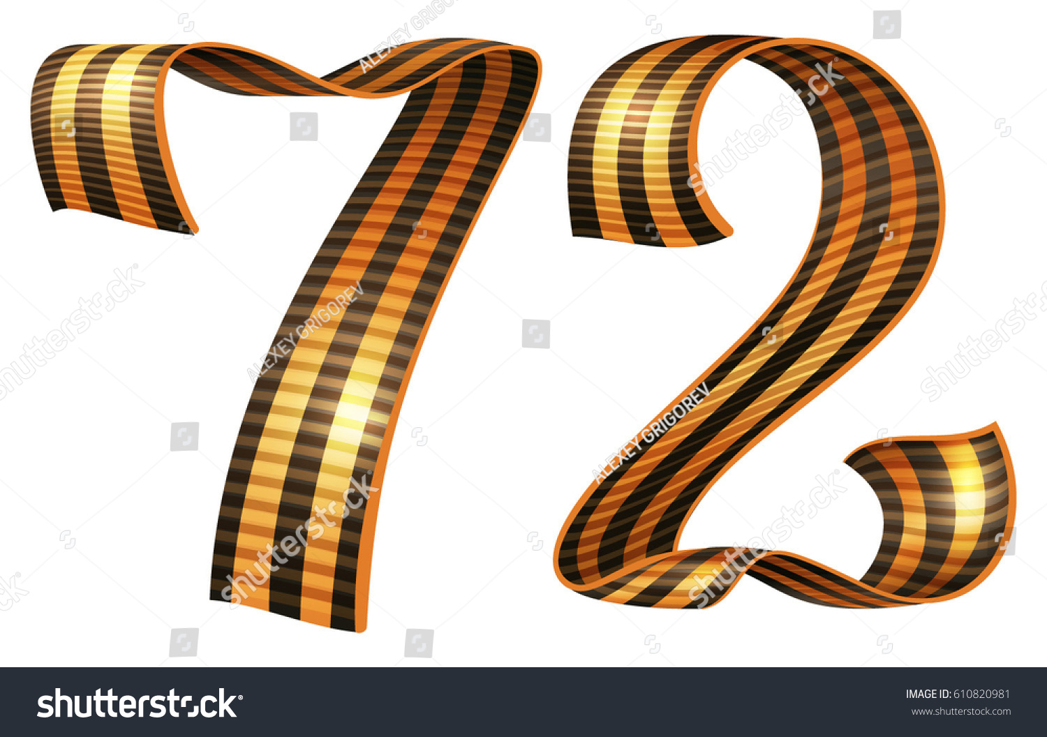 George ribbon shape number 72 anniversary Victory Day. Isolated on white  vector illustration