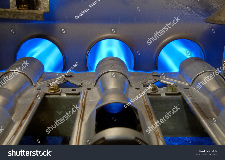 Closeup Inside Home Natural Gas Furnace Stock Photo 610843