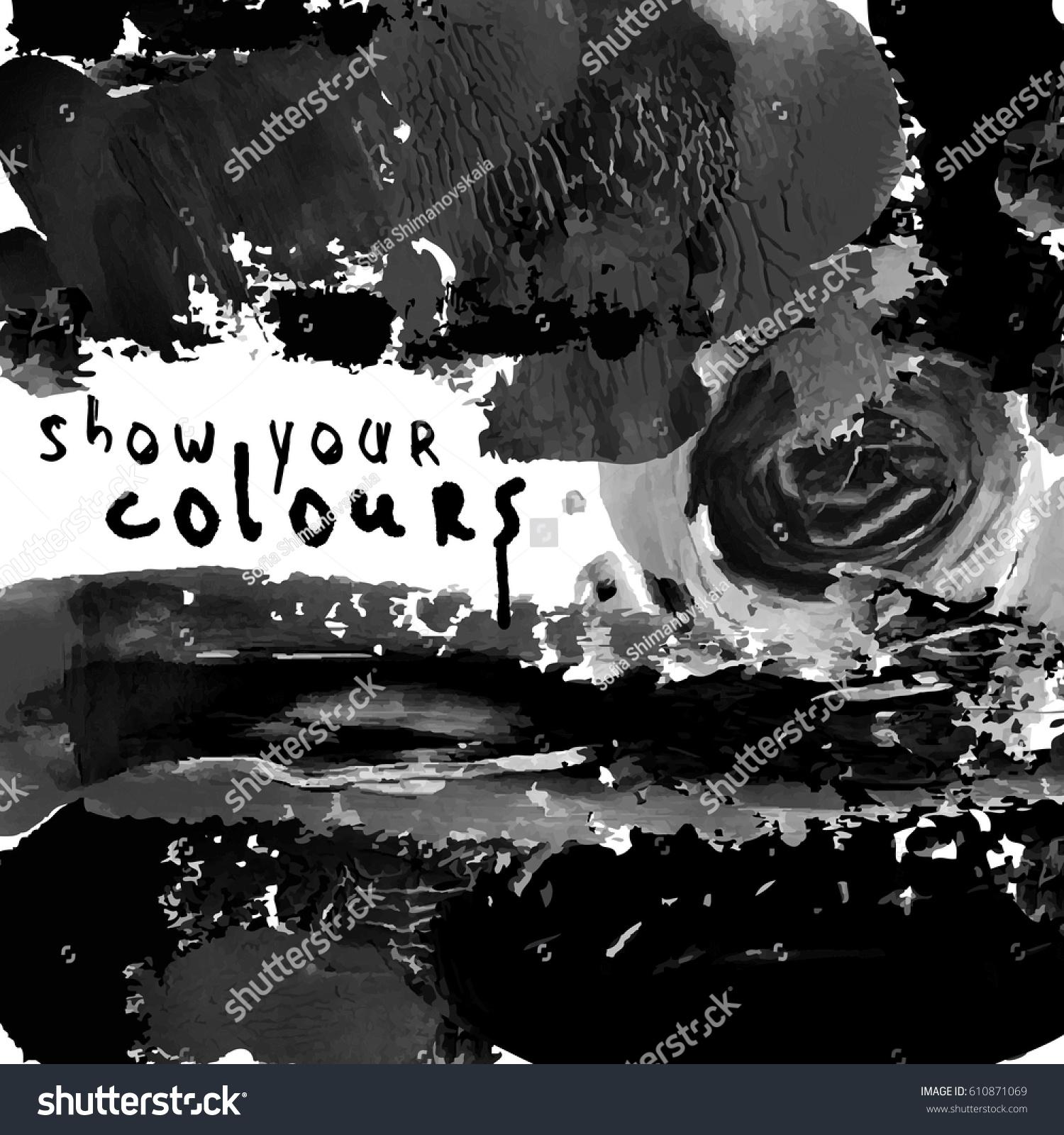 Flyer Template Invitation Black White Paint Stock Vector Royalty