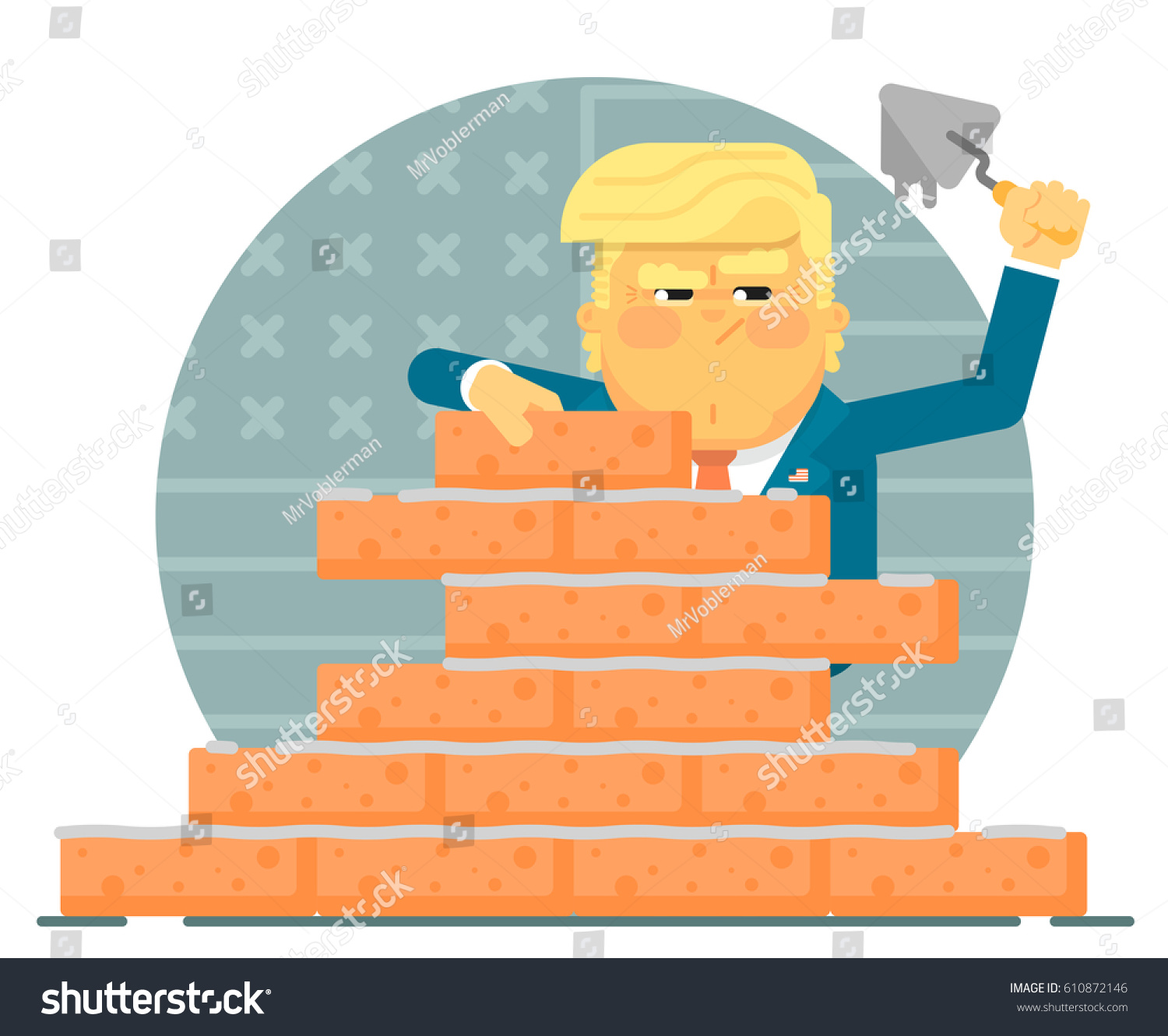 Donald Trump Is Building A Brick Wall Illustration In Flat Style With The President
