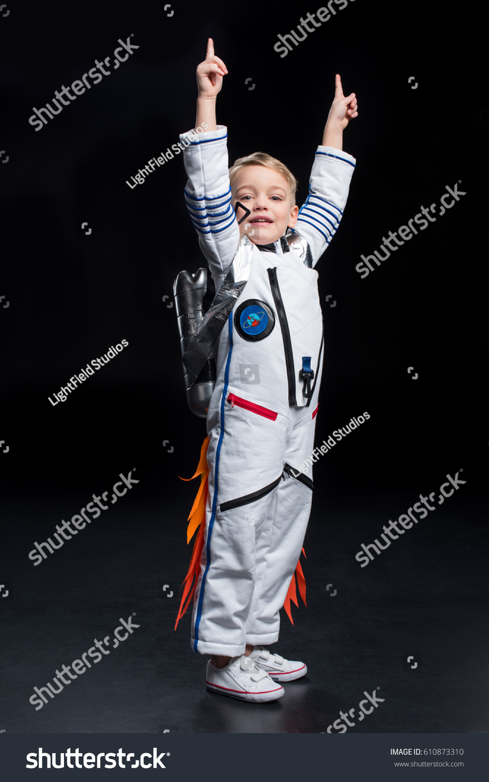 Little Boy Astronaut Space Suit Pointing Stock Photo ...