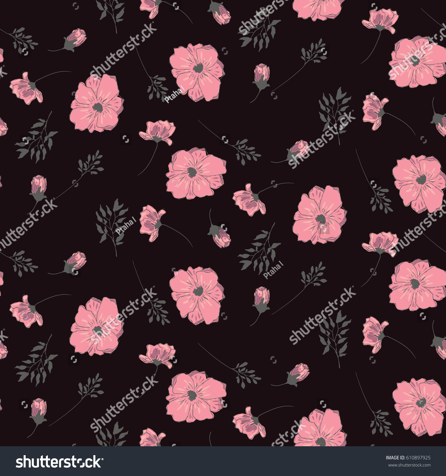 Pink flowers on black background floral stock vector royalty free pink flowers on a black background floral pattern on a white background wallpaper seamless mightylinksfo