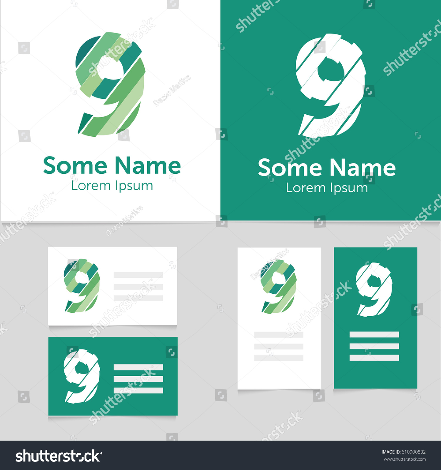 editable business card template 9 number stock vector