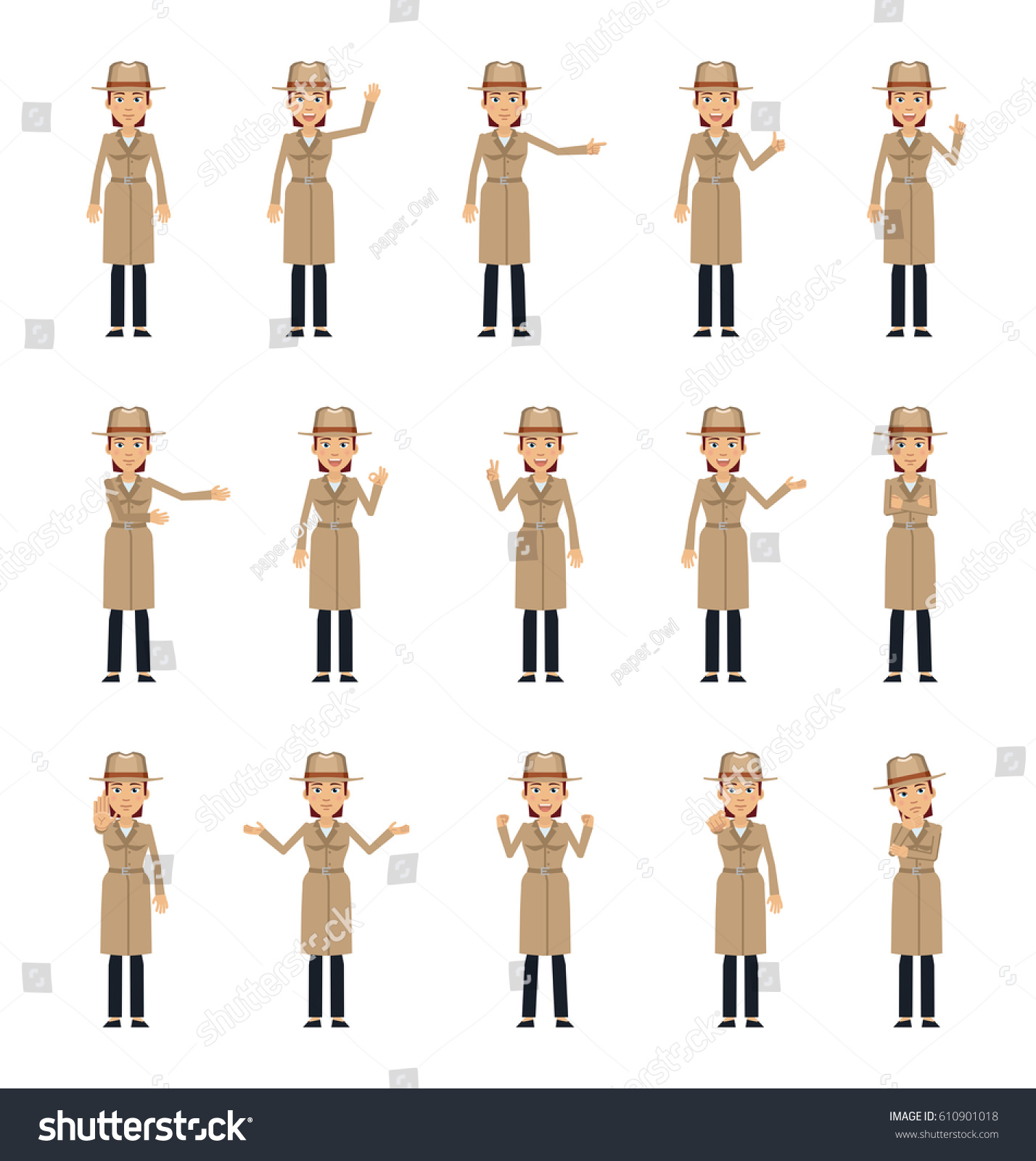 royalty free set of female detective characters 610901018 stock