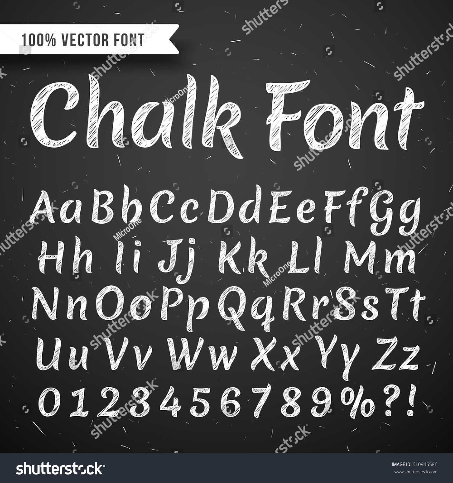 Chalk white calligraphy letters vector writing stock
