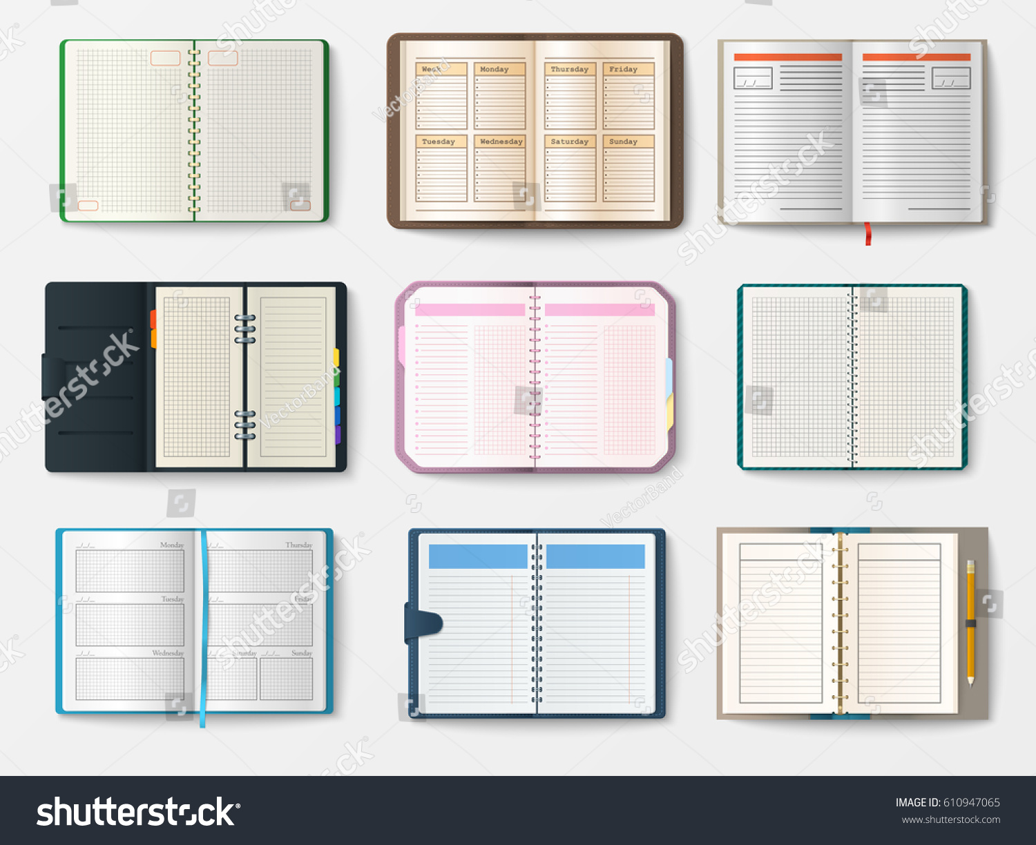 Set open realistic notebooks pages diary stock vector 610947065 set of open realistic notebooks with pages diary office sheet template booklet and blank paper education pronofoot35fo Choice Image
