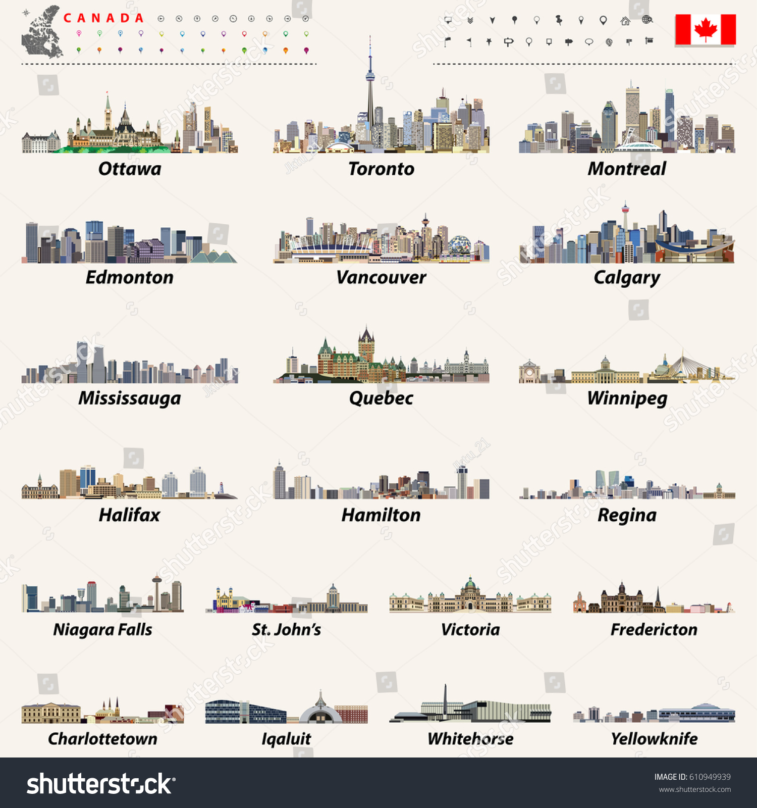 Canada Largest Cities All States Capitals Stock Vector - Canada states capital map