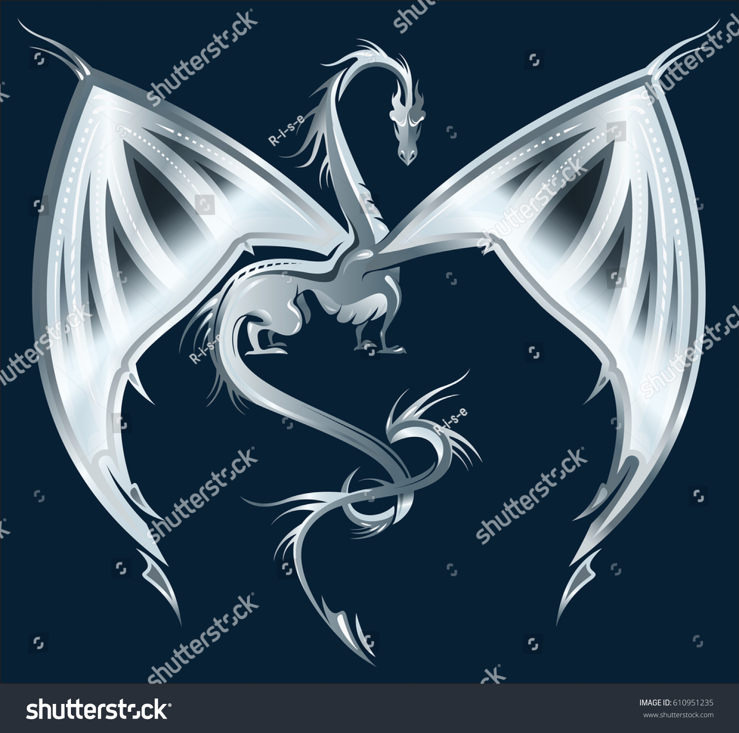 stylized image silver dragon on dark stock vector royalty free