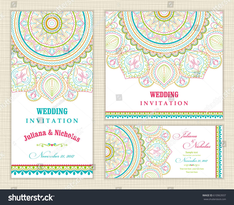 Wedding Invitation Cards Eastern Style Blue Stock Vector 610963937 ...