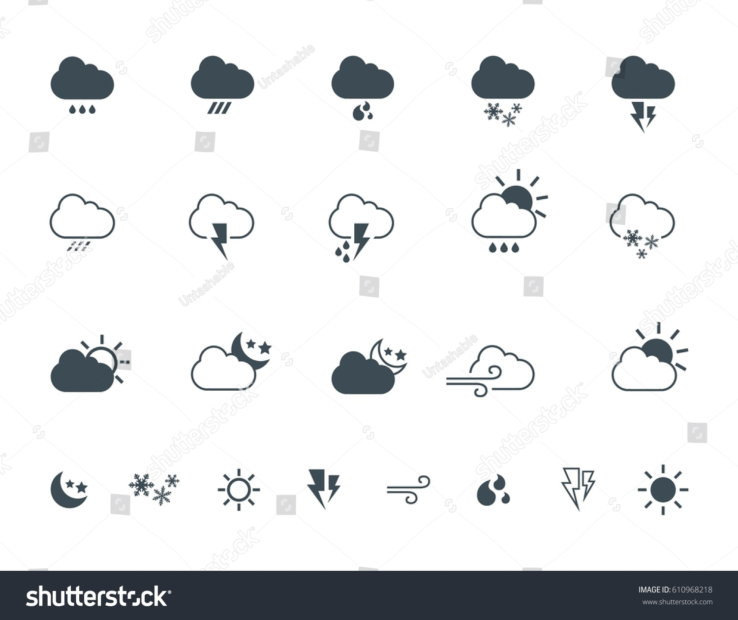 Simple weather vector icons logos design stock vector 610968218 simple weather vector icons logos design elements seasons signs and symbols of clouds biocorpaavc Images