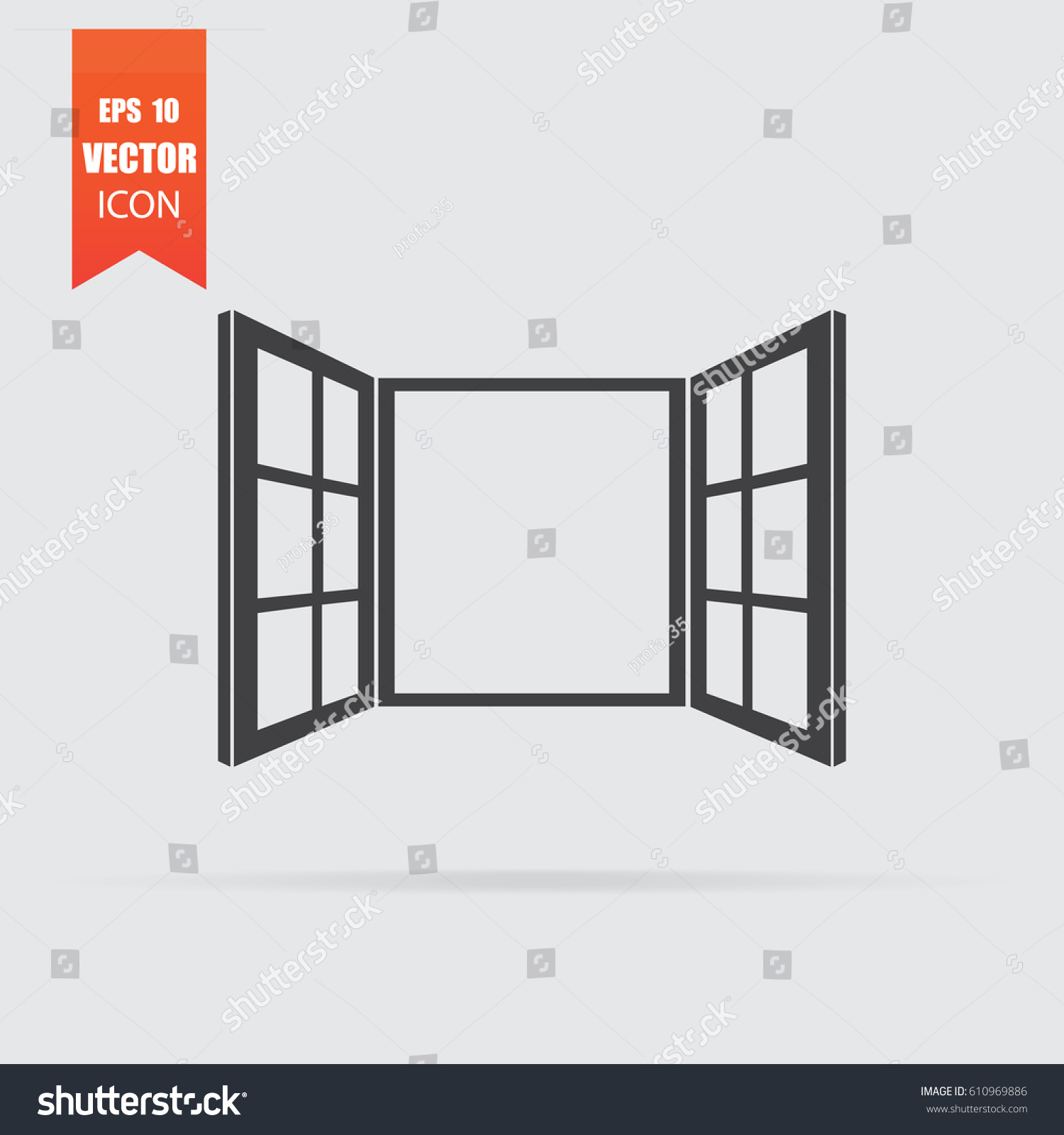 Open window icon flat style isolated stock vector for Window design vector