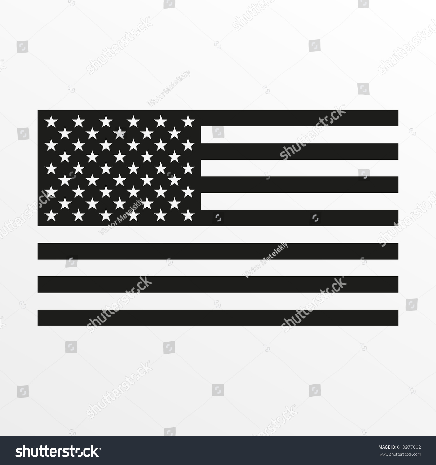 USA flag icon. Black and white United States of America national symbol. Vector illustration. #610977002