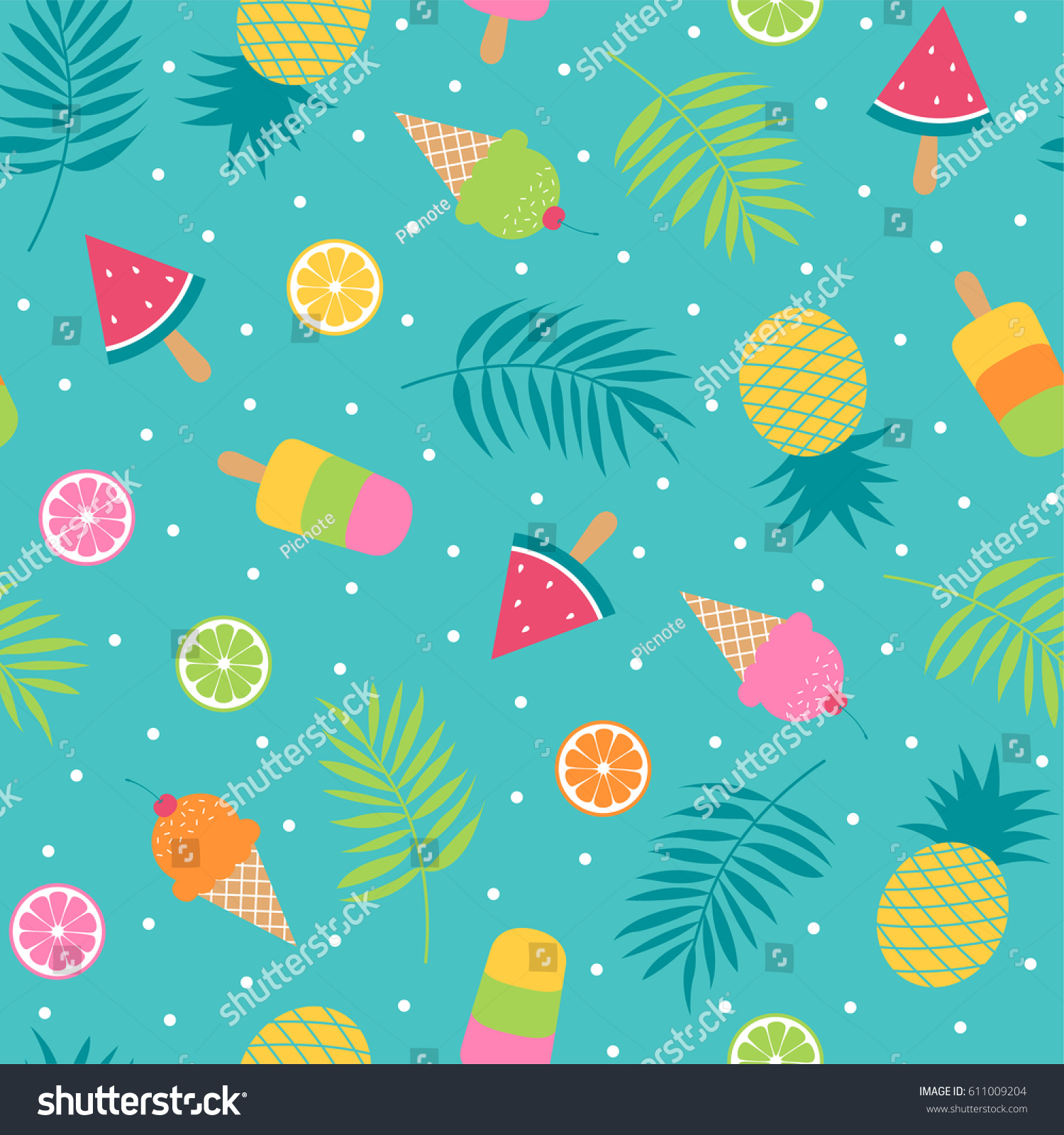 Pattern Cute Colorful Ice Cream Textiles Stock Vector: Cute Bright Summer Holidays Seamless Pattern Stock Vector