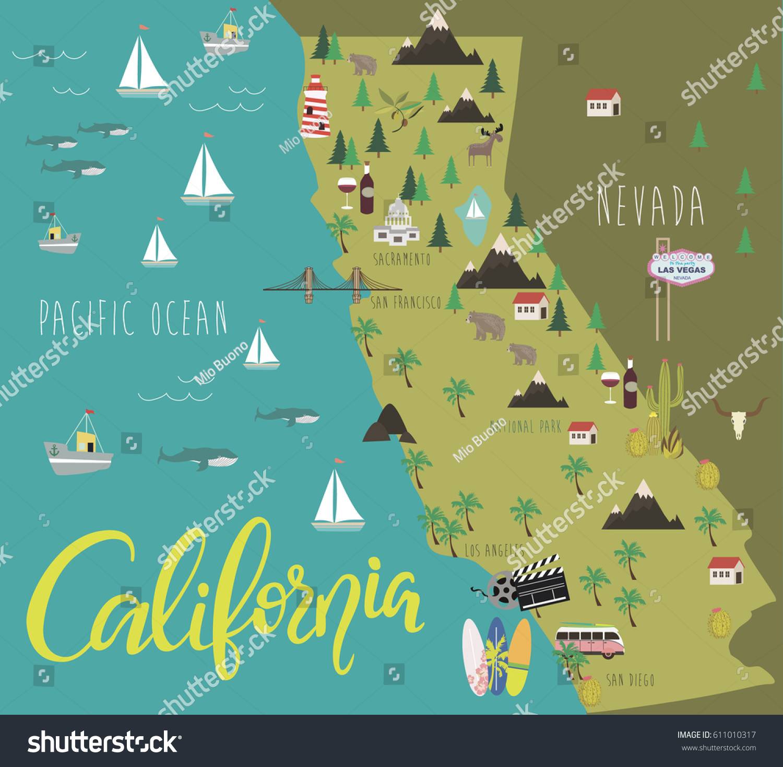 Illustration Map California Animals Landmarks Vector Stock Vector - Usa map landmarks