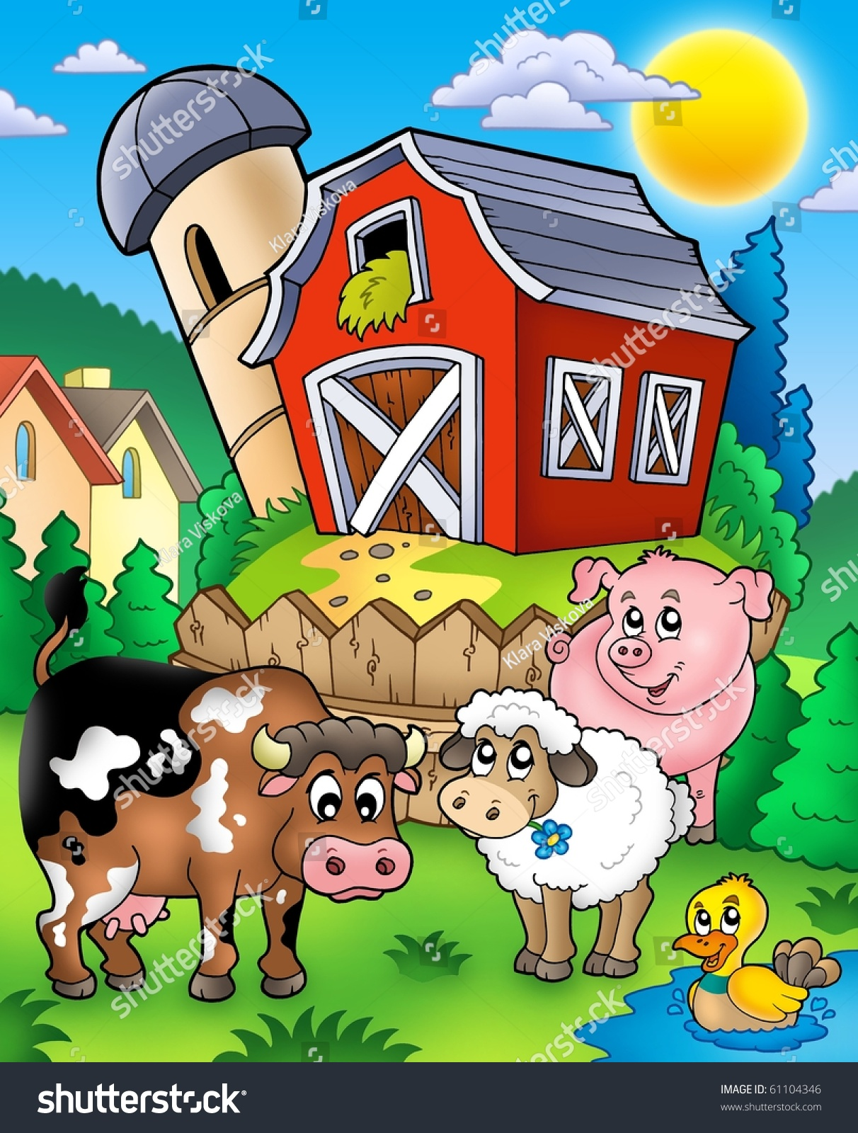 Barn and farm animal coloring pages - Farm Animals Near Barn Color Illustration