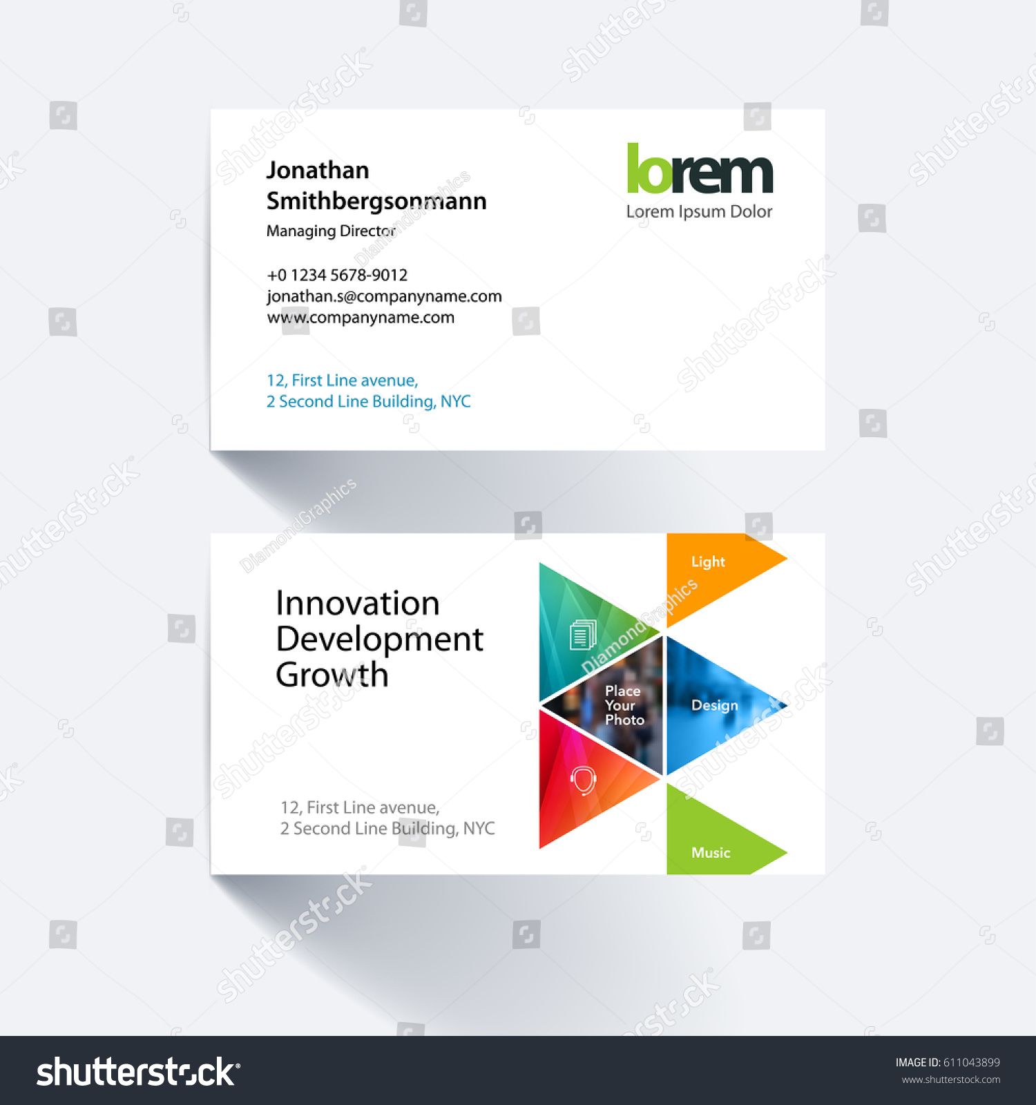 Vector Business Card Template Colourful Triangular Stock Vector ...