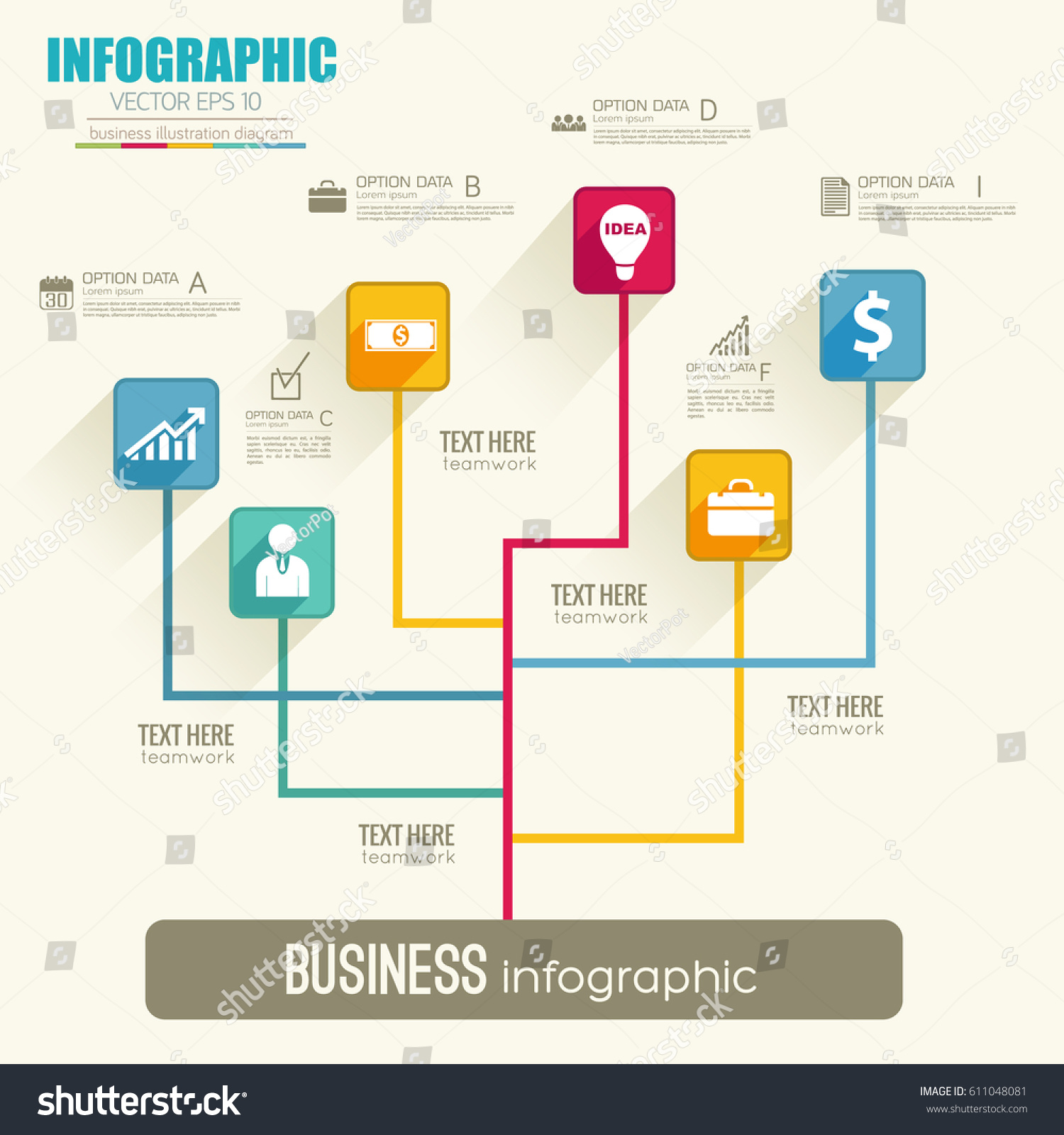 web infographic flowchart template with colorful lines squares and icons on light background vector illustration - Flowchart Web
